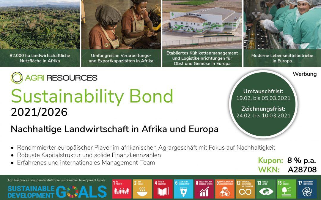 Agri Resources: 8 % Sustainability Bond für beschleunigtes Wachstum im internationalen Agrargeschäft